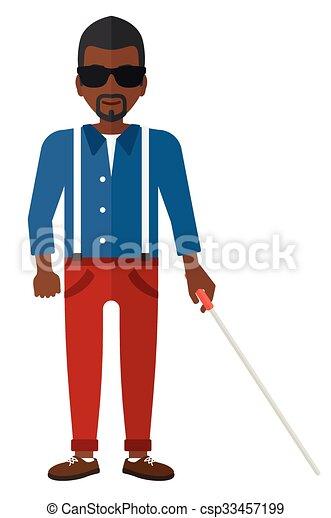 cego, stick., homem - csp33457199