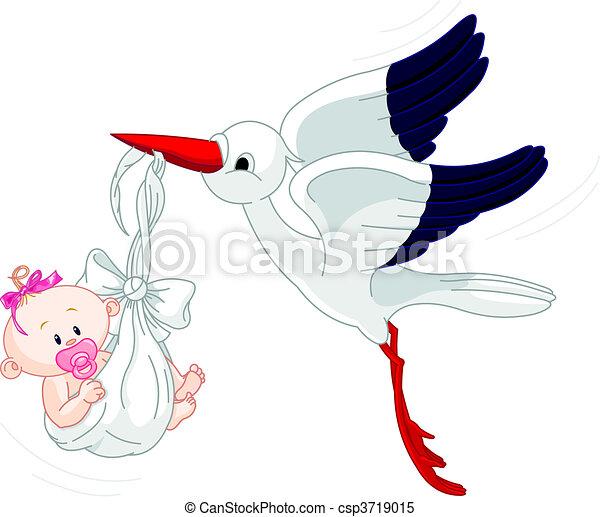 cegonha, bebê - csp3719015