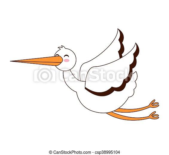 cegonha voando isolado ícone gráfico voando isolado