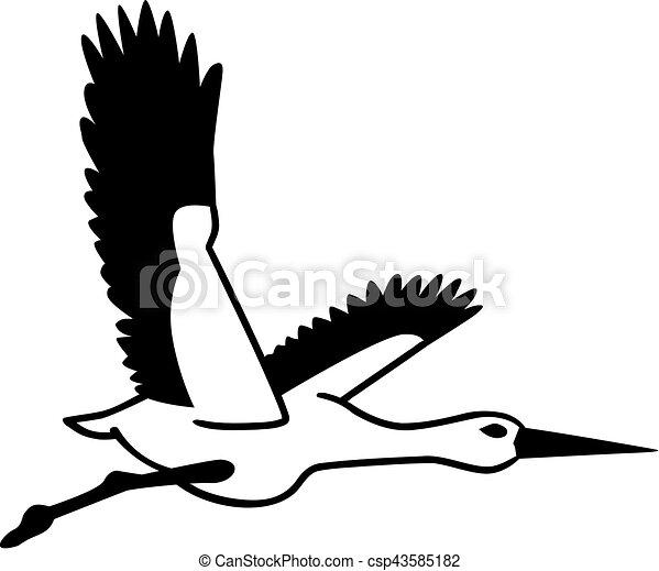cegonha voando silueta