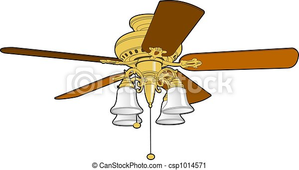 Five blade ceiling fan used to cool and warm a room clipart ceiling fan csp1014571 mozeypictures Images