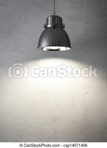 ceiling lamps  and  concrete wall - csp14071406
