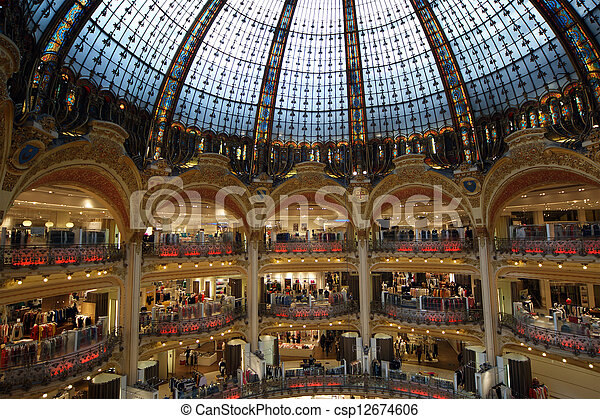 ceiling of the lafayette luxury shopping mall in paris stock