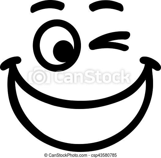 Una gran sonrisa sonriente con cejas - csp43580785