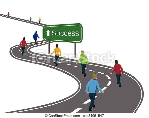 cele, albo, pieszy, pojęcie, grupa, powodzenie, asfalt, mężczyźni, droga, strzała znaczą, podróż, zielony, zwycięstwo, droga, kooperacja, łukowaty, biały, drużyna, dokonując, szosa - csp54951547