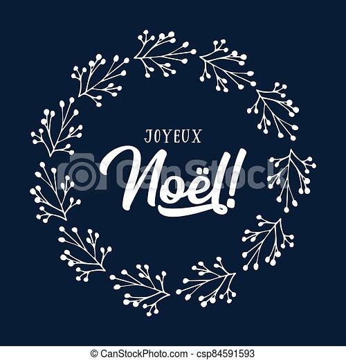 celebración, cita, letras, noel, joyeux, translated, o, invitation., cartel, logotipo, francés, tarjeta, alegre, guirnalda, header., navidad. - csp84591593