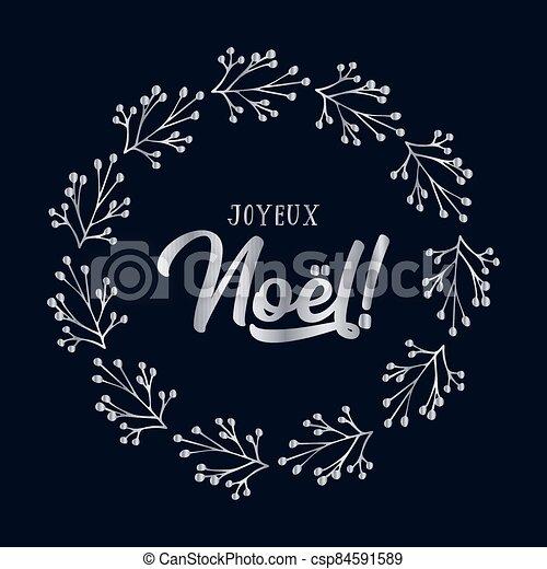 celebración, cita, letras, noel, joyeux, translated, o, invitation., cartel, logotipo, francés, tarjeta, alegre, guirnalda, header., navidad. - csp84591589