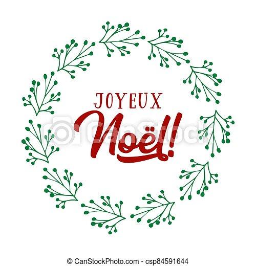 celebración, cita, letras, noel, joyeux, translated, o, invitation., cartel, logotipo, francés, tarjeta, alegre, guirnalda, header., navidad. - csp84591644