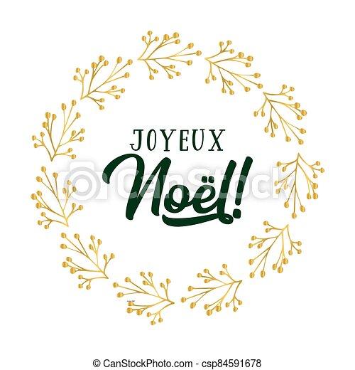 celebración, cita, letras, noel, joyeux, translated, o, invitation., cartel, logotipo, francés, tarjeta, alegre, guirnalda, header., navidad. - csp84591678