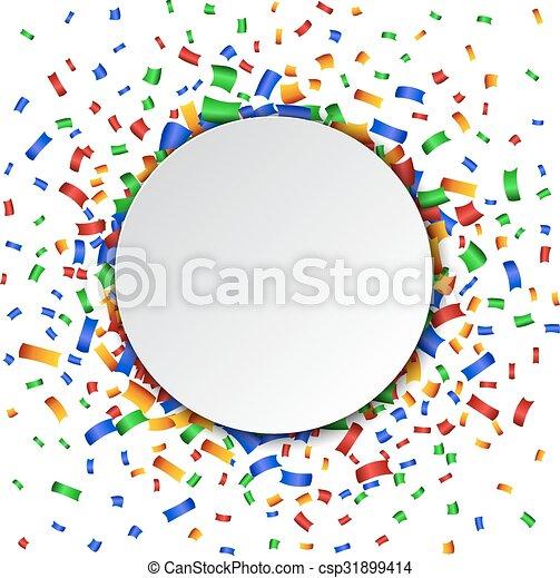 Un fondo colorido de celebración con confeti. - csp31899414