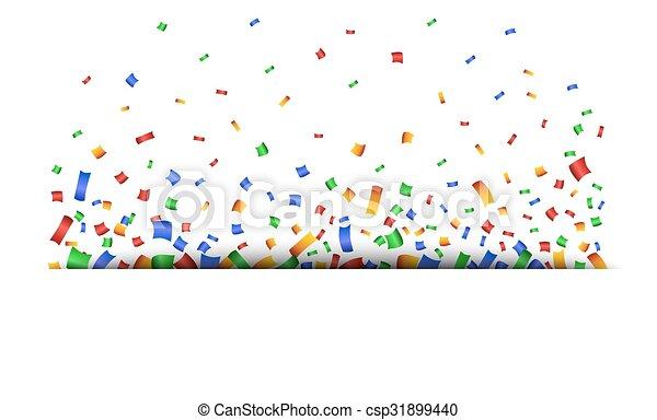 Un fondo colorido de celebración con confeti. - csp31899440