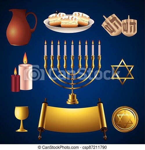 celebración, iconos, feliz, lío, hanukkah - csp87211790