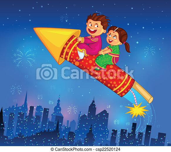 celebrando, diwali, desfrutando, firecracker, crianças - csp22520124