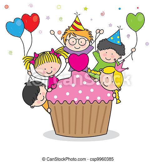 celebrando, partido aniversário - csp9960385