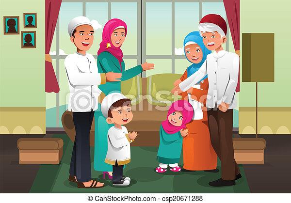 Familia celebrando eid-al-fitr - csp20671288