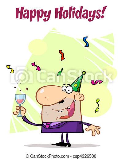 ¡El hombre celebra las felices fiestas! - csp4326500