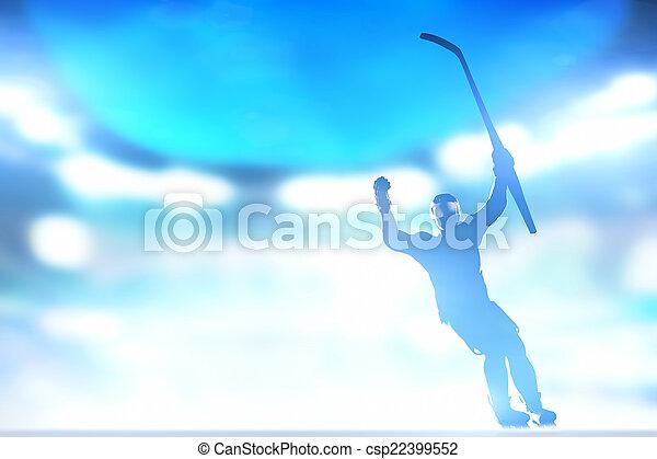 Jugador de hockey celebrando gol, victoria con las manos y levantamiento - csp22399552