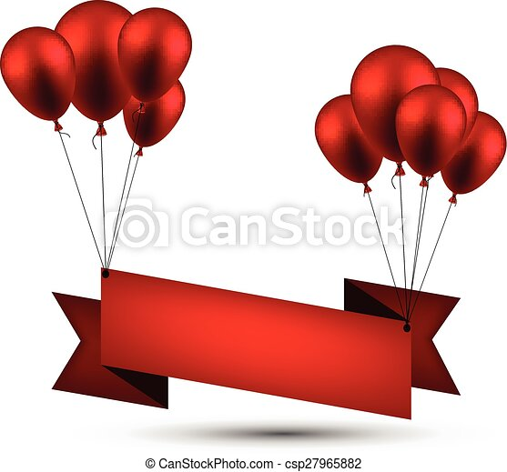 Celebrate red ribbon background with balloons. - csp27965882