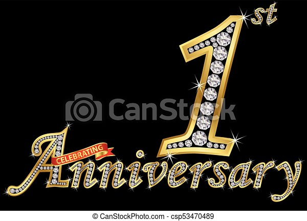 Celebrating st anniversary golden sign with diamonds vector