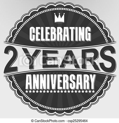 celebrating 2 years anniversary retro label vector illustration