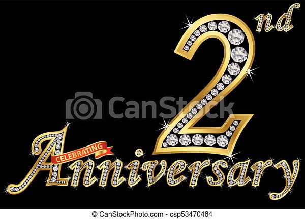 Celebrating nd anniversary golden sign with diamonds vector