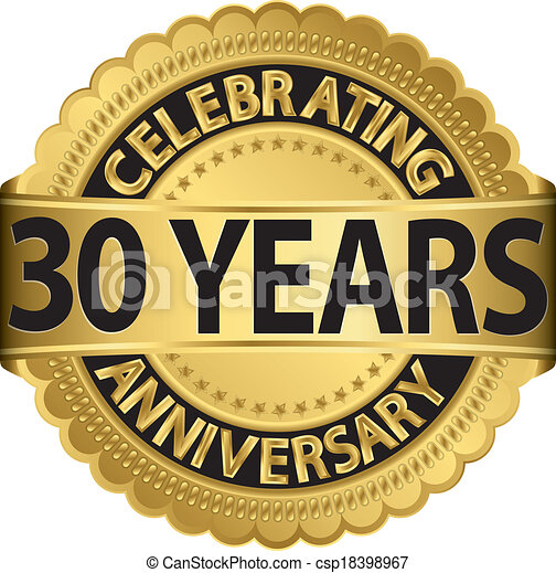 celebrating 30 years anniversary golden label with ribbon vector