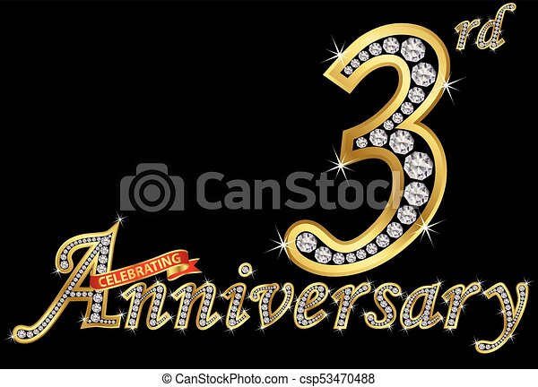 Celebrating 3rd anniversary golden sign with diamonds vector