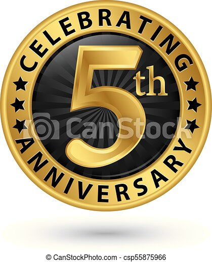 Celebrating 5th Anniversary Gold Label Vector Illustration Clip Art