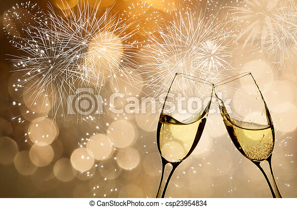 Celebrating with champagne - csp23954834