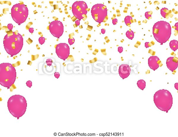 celebration background template with confetti and ribbons and