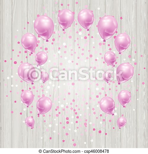 Celebration background with pink balloons and confetti - csp46008478