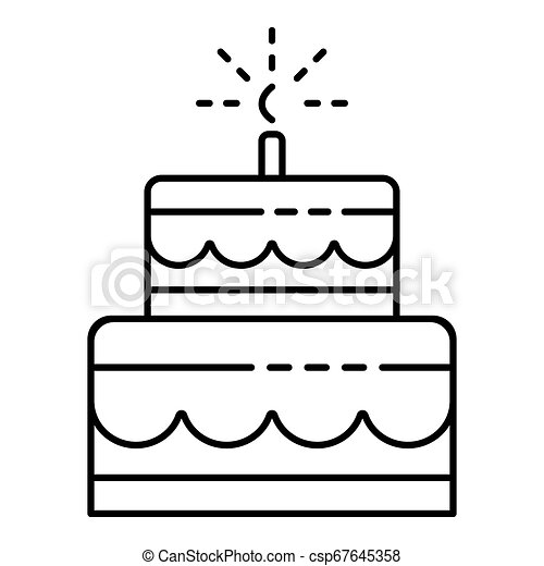 Fantastic Celebration Birthday Cake Icon Outline Style Celebration Funny Birthday Cards Online Kookostrdamsfinfo