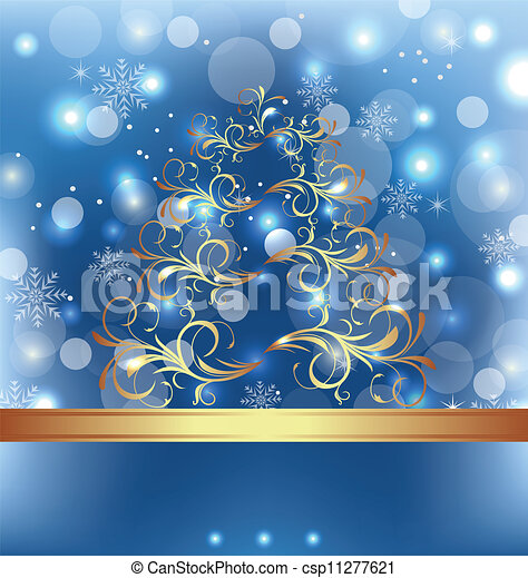 Celebration card with abstract Christmas floral tree - csp11277621