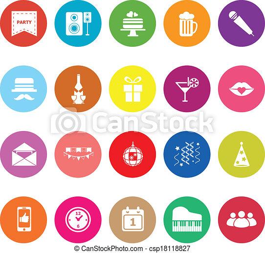 Celebration flat icons on white background - csp18118827