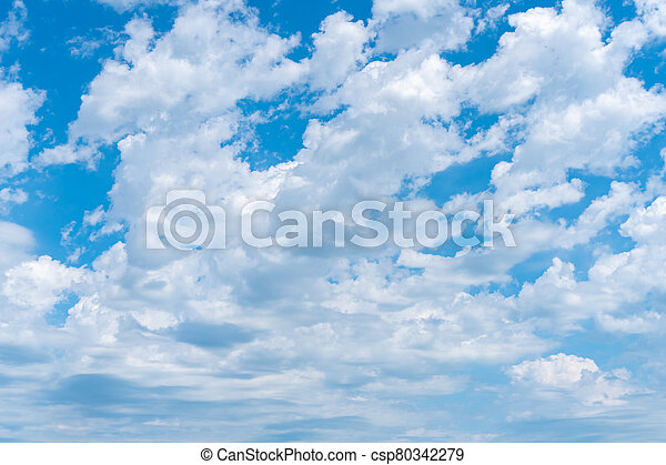 celeste, nubes blancas, plano de fondo, textura - csp80342279