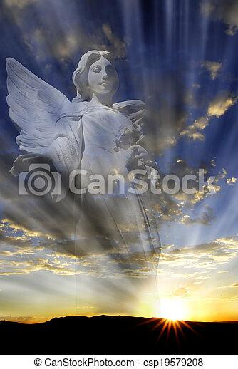 celestial, luz, ángel - csp19579208