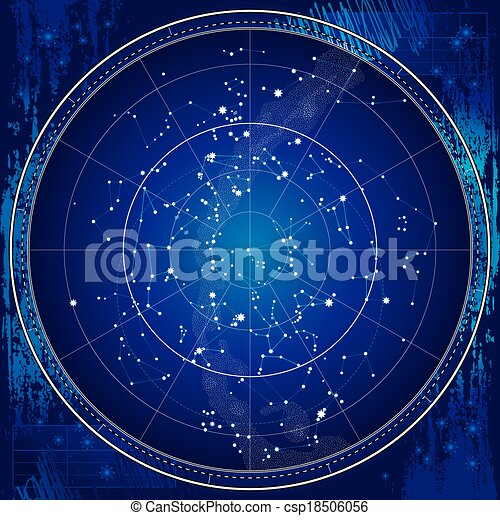 Celestial Map of The Night Sky - csp18506056