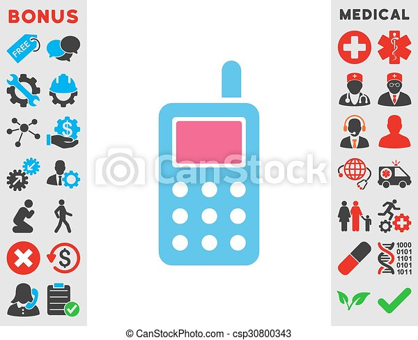 Cell Phone Icon Cell Phone Vector Icon Style Is Bicolor Flat