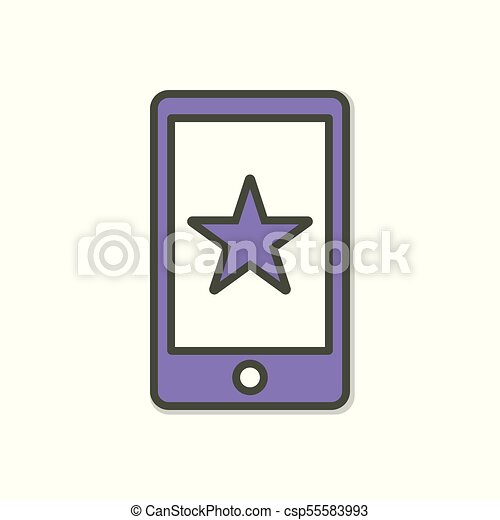 Cell Phone Icon >> Cell Phone Icon With Star Sign Cell Phone Icon And Best Favorite Rating Concept