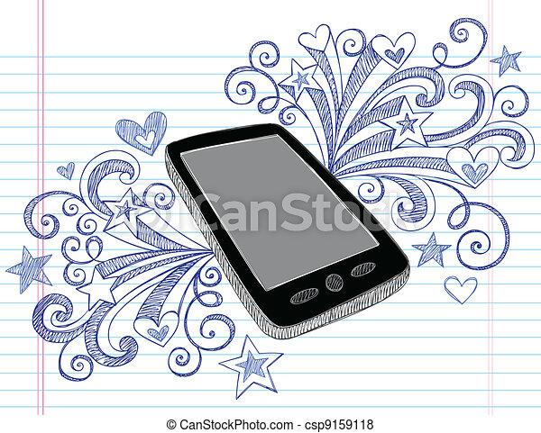 Cell Phone PDA Doodle Vector Design - csp9159118