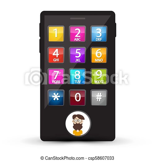 Cell Phone with Numbers and Man Avatar on Screen. Vector Mobile with Dial. - csp58607033