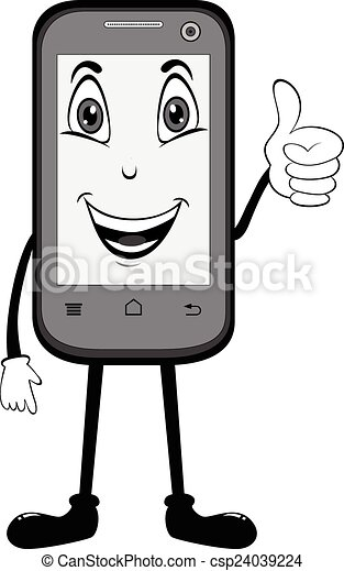 cell phone with thumbs up illustration of a happy cell phone with rh canstockphoto com Game Cell Phone Clip Art Game Cell Phone Clip Art