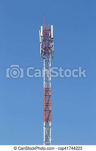 Cell site, Telecommunications radio tower or mobile phone base station with atop the antenna. - csp41744223