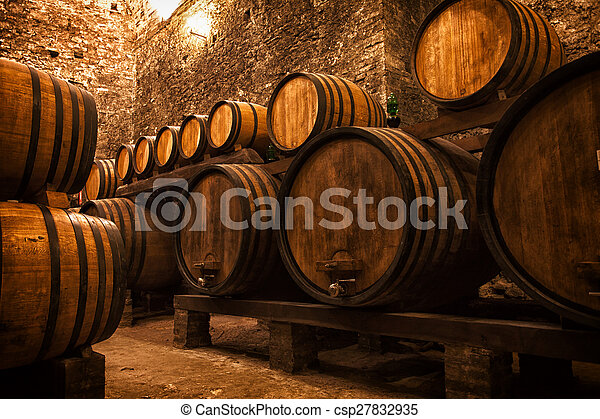 cellar with barrels for storage of wine, Italy - csp27832935