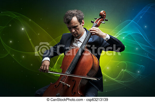 Cellist with colorful fabled concept - csp63213139