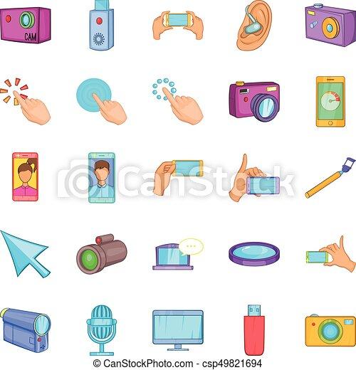 Cellphone icons set, cartoon style - csp49821694