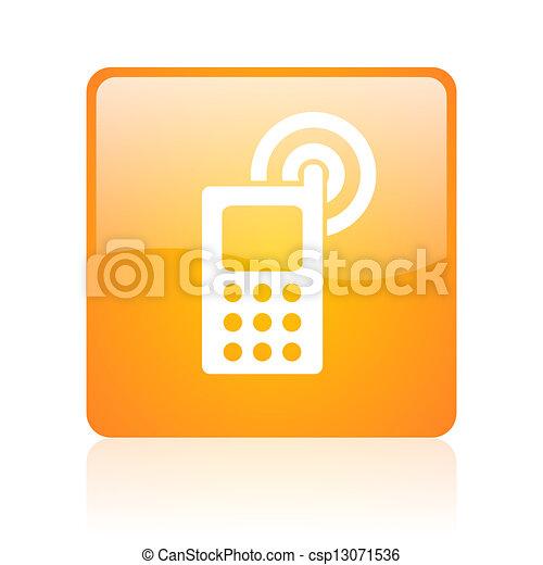 cellphone orange square glossy web icon - csp13071536
