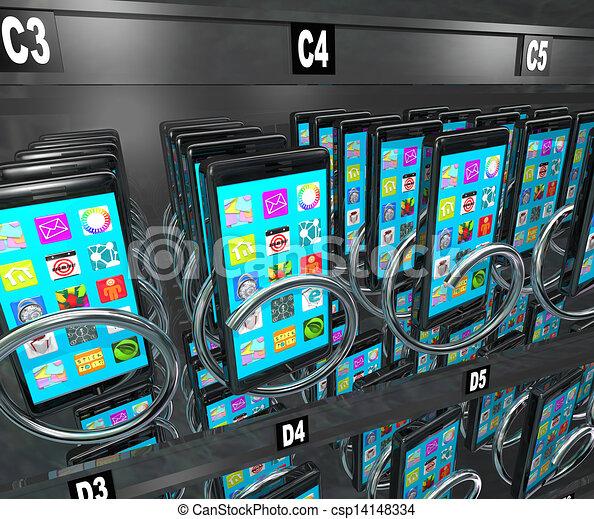 cellphone, vente, téléphone, machine, téléphone, achat, intelligent - csp14148334