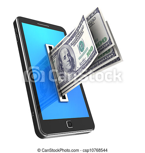 Cellphone with dollars - csp10768544