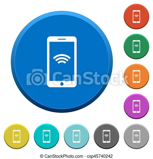 Cellphone With Wireless Network Symbol Beveled Buttons Cellphone